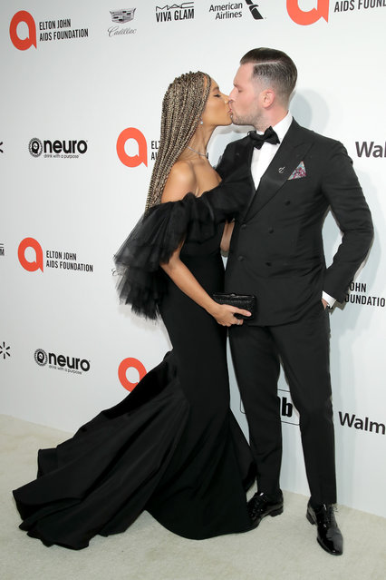 (L-R) Leona Lewis and Dennis Jauch attend the 28th Annual Elton John AIDS Foundation Academy Awards Viewing Party sponsored by IMDb, Neuro Drinks and Walmart on February 09, 2020 in West Hollywood, California. (Photo by Jemal Countess/Getty Images)