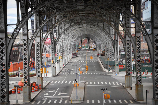 Empty streets in Harlem in New York City on April 4, 2020. (Photo by William Volcov/Rex Features/Shutterstock)