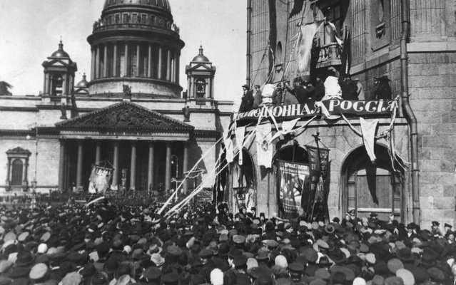 Demonstration before Saint Isaac's Cathedral in Petrograd, formerly St Petersburg, during the October phase of the Russian Revolution, 1917. (Photo by Keystone/Getty Images)