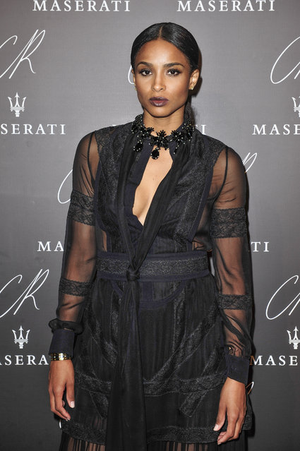Ciara poses at Carine Roitfeld & Stephen Gan celebration of the launch of CR Fashion Book N.5 in Paris, Tuesday, September 30, 2014. (Photo by Zacharie Scheurer/AP Photo)