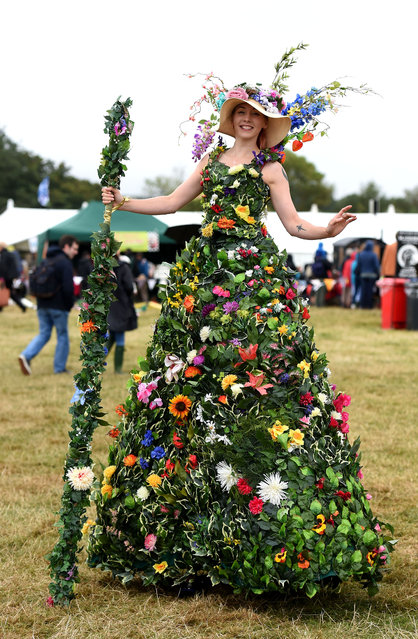 Flower stilt walkers at Dorset county show in south-west England on September 4, 2016. (Photo by Finbarr Webster/Rex Features/Shutterstock)