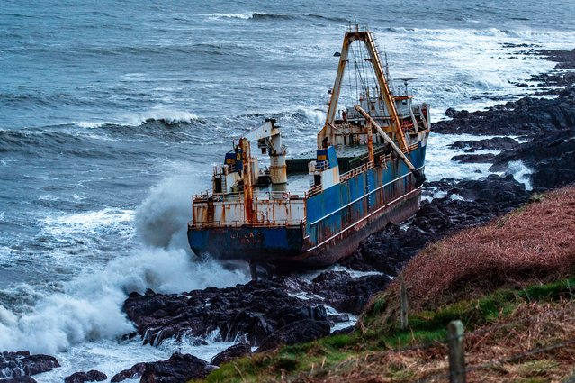 Undated image released Monday February 17, 2020, by Irish Coast Guard showing the abandoned cargo ship MV Alta, that has washed up on the coast of County Cork, near Ballycotton, southern Ireland. The MV Alta is believed to have had 10 crew members aboard who were rescued by the US Coast Guard. Since September 2018, the ship has been drifting with no crew aboard, and it was last seen off the coast of West Africa before being washed up in southern Ireland during Storm Dennis. (Photo by Irish Coast Guard via AP Photo)