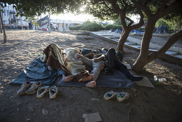"""Migrants sleep in a park, at the northern Greek city of Thessaloniki, on Saturday, July 9, 2016. With Turkey in crisis and Europe's borders closed, smugglers in northern Greece are looking forward to a profitable summer. Police say traffickers are using increasingly sophisticated methods – with motorcycle spotters, """"blind spot"""" maps in border surveillance, and even police informants to move refugees stuck here for months in limbo. (Photo by Giannis Papanikos/AP Photo)"""