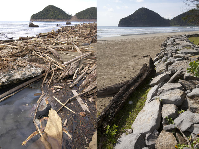 LEFT IMAGE: A body lies in water near the beach after the Tsunami in Leupung, 150 miles from southern Asia's massive earthquake's epicenter on Tuesday January 8 2005 in Leaping, Indonesia. RIGHT IMAGE: A waterfront scene prior to the ten year anniversary of the 2004 earthquake and tsunami on December 13, 2014 in Leupung, Indonesia. (Photo by Stephen Boitano/Barcroft Media)