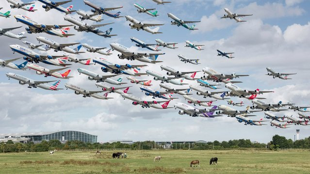 He said some of the amazing composite pictures – including this one of Heathrow – took weeks or even months to create. (Photo by Mike Kelley/SWINS)