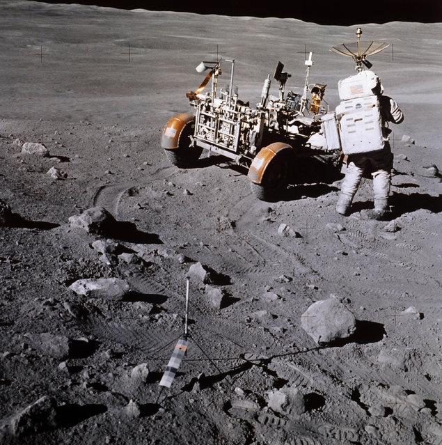 Lunar Rover during Apollo 16 moon landing, April 1972. (Photo by AP Photo)