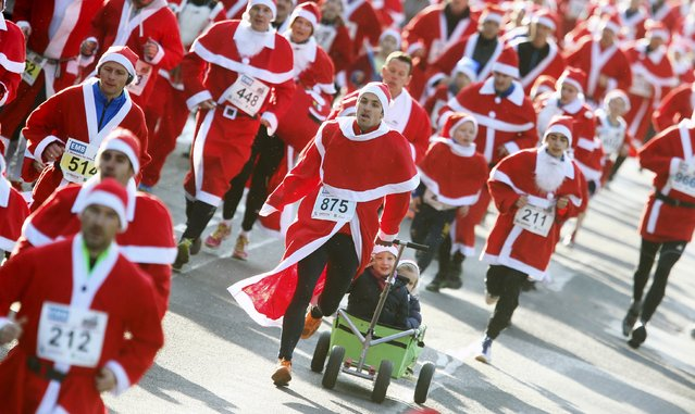 Runners dressed as Father Christmas participate in the Nikolaus Lauf (Santa Claus Run) in the east German town of Michendorf, southwest of Berlin, Germany, December 6, 2015. (Photo by Hannibal Hanschke/Reuters)