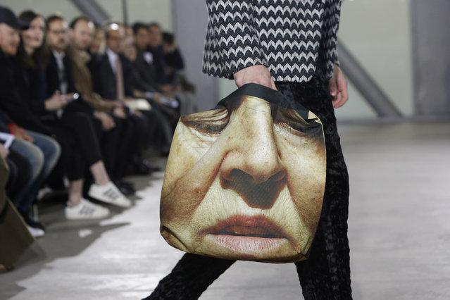 A model wears a creation by Japanese fashion designer Yusuke Takahashi for Issey Miyake's men's fall-winter 2015/2016 fashion collection presented in Paris, France, Thursday, January 22, 2015. (Photo by Thibault Camus/AP Photo)