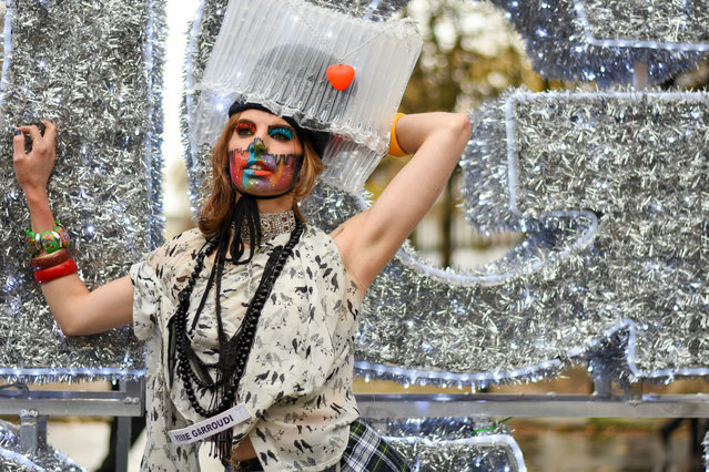 A model showcases Pierre Garroudi latest collection during the flash mob fashion show at Sloane Square in London, United Kingdom on November 14, 2020. (Photo by Pietro Recchia/SOPA Images/LightRocket via Getty Images)