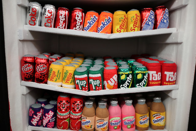 A fridge of sodas made from felt in a art installation supermarket in which everything is made of felt, in Los Angeles, California on July 31, 2018. (Photo by Lucy Nicholson/Reuters)