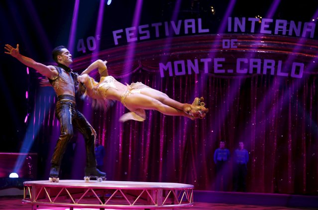 The skating duo Pilar performs during the opening of the 40th Monte-Carlo International Circus Festival in Monaco January 14, 2016. (Photo by Eric Gaillard/Reuters)