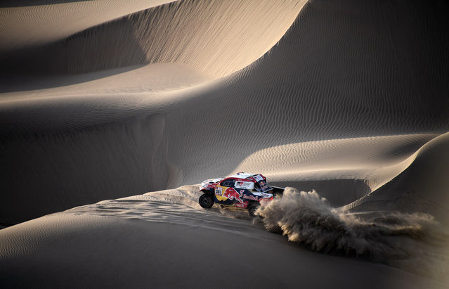 Toyota's Qatari driver Nasser Al-Attiyah and French co-driver Mathieu Baumel ride through the dunes of Tanaca during the 2018 Dakar Rally Stage 5 between San Juan De Marcona and Arequipa in Peru, on January 10, 2018. (Photo by Franck Fife/AFP Photo via Getty Images)