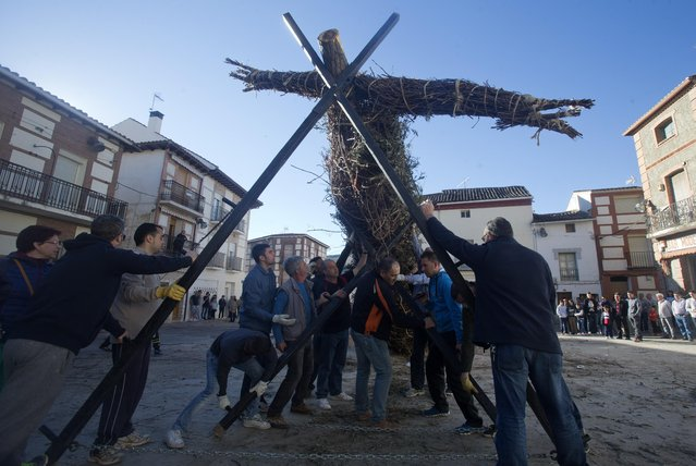 Youths, with the help of older men from the village help erect a cross in Tielmes, Spain on Easter Sunday  Sunday, April 5, 2015 marking the end of Holy week. Youths from the village who have recently turned 18 drag a tree trunk from a forest and erect it in the square before it is burned with a figure representing Judas. The burning, originally a pagan ritual, is a cleansing ceremony to rid  bad things that have happened during the year. (Photo by Paul White/AP Photo)
