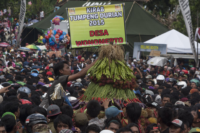 Thousands people attend the festival durian on the northern slopes of Mount Arjuna in East Java. (Photo by Sigit Pamungkas/JG Photo)