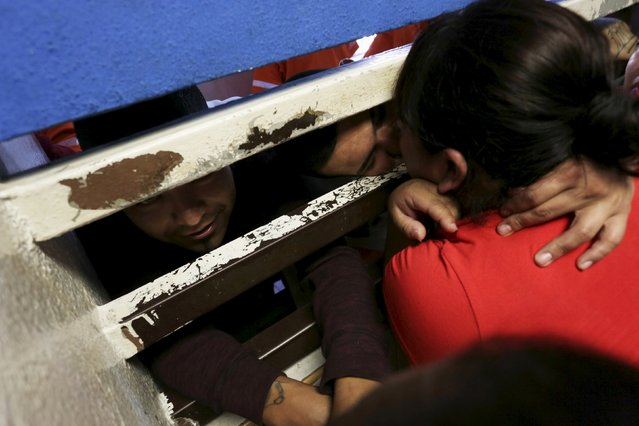 A woman embraces her relative who is an inmate as she visits him in the Topo Chico prison, during a media tour, in Monterrey, Mexico, February 17, 2016. (Photo by Daniel Becerril/Reuters)