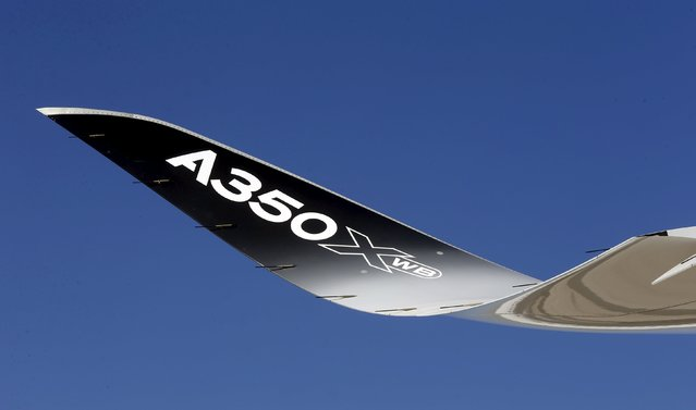A winglet of the Airbus A350 XWB flight-test aircraft is pictured during a media day event at Guarulhos airport in Sao Paulo in this August 7, 2014 file photo. Airbus is expected to report annual results this week. (Photo by Paulo Whitaker/Reuters)