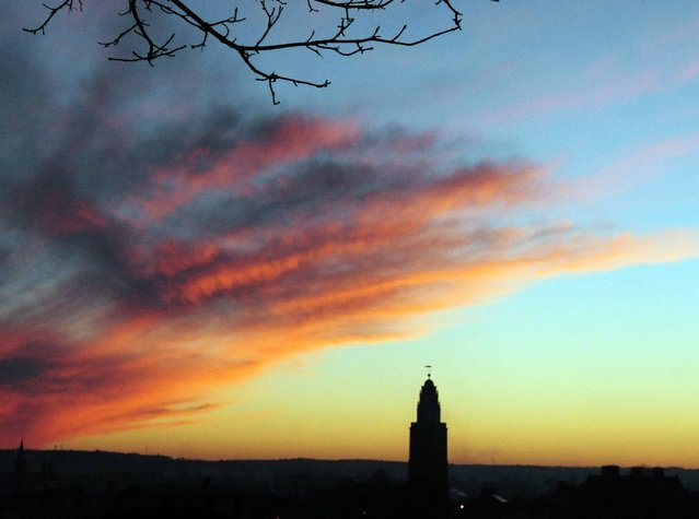 Winter evening sunset over Cork famed Shandon steeple, on January 4, 2014. (Photo by Eddie O'Hare/PA Wire)