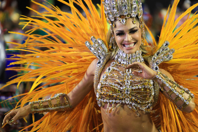 """ctress Grazi Massafera of Imperatriz Samba School performs during the parade at 2019 Brazilian Carnival at Sapucai Sambadrome on March 03, 2019 in Rio de Janeiro, Brazil. Rio's two nights of Carnival parades began today in a burst of fireworks and to the cheers of thousands of tourists and locals who have previously enjoyed street celebrations (known as """"blocos de rua"""") all around the city. (Photo by Buda Mendes/Getty Images)"""