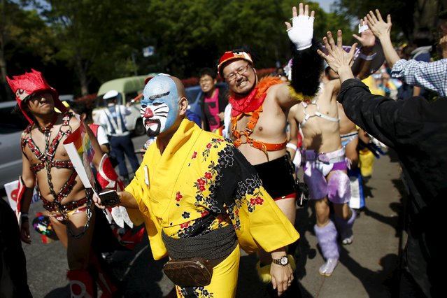 Revellers wear costumes during the Tokyo Rainbow Pride parade in Tokyo April 26, 2015. (Photo by Thomas Peter/Reuters)