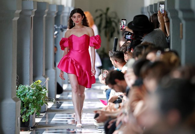A model wears a creation of the brand Pink Magnolia label, during the second day of the Mercedez Benz Fashion Week Mexico, in Mexico City, Mexico, 11 October 2021. (Photo by Mario Guzman/EPA/EFE)
