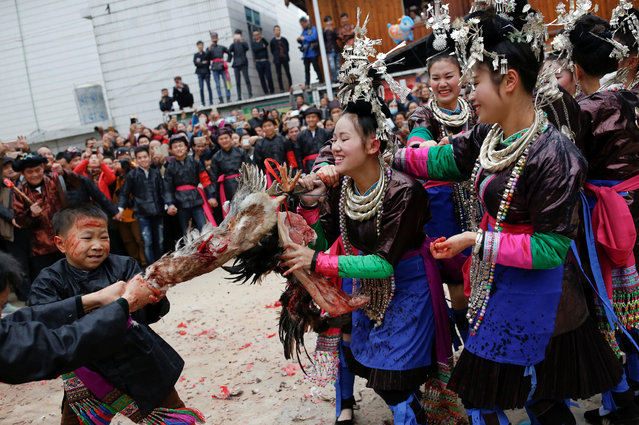 "An ethnic ""Kam"" (also known as Dong) boy pulls the head of a live duck during a traditional wedding ritual ""steal the chicken at the drum tower"" in a minority Dong village in southwestern Chinese city of Congjiang, Guizhou province, China January 29, 2017. (Photo by Tyrone Siu/Reuters)"