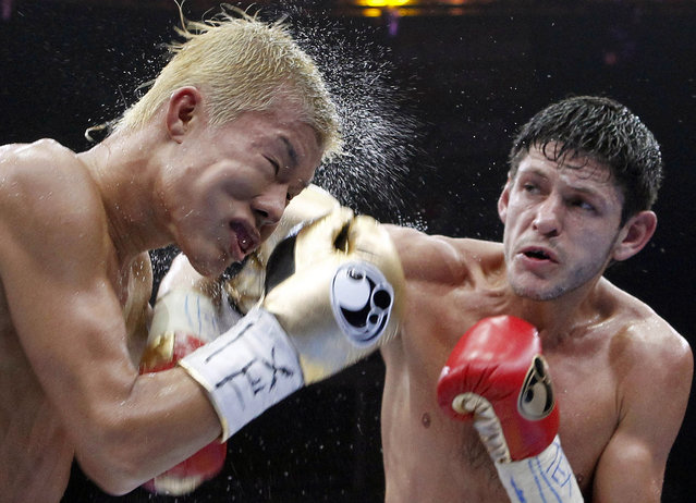 Tomoki Kameda, left, is struck by Jamie McDonnell during the eighth round of their bantamweight bout Saturday May 9, 2015, in Hidalgo, Texas. McDonnell won the bout. (Photo by Nathan Lambrecht/AP Photo/The Monitor)