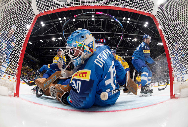 Italy's Marco de Filippo Roia loses a goal  during the 2019 IIHF Ice Hockey World Championship Slovakia group B game between Italy and Sweden at Ondrej Nepela Arena on May 12, 2019 in Bratislava, Slovakia. (Photo by Joel Marklund/Pool via Reuters)