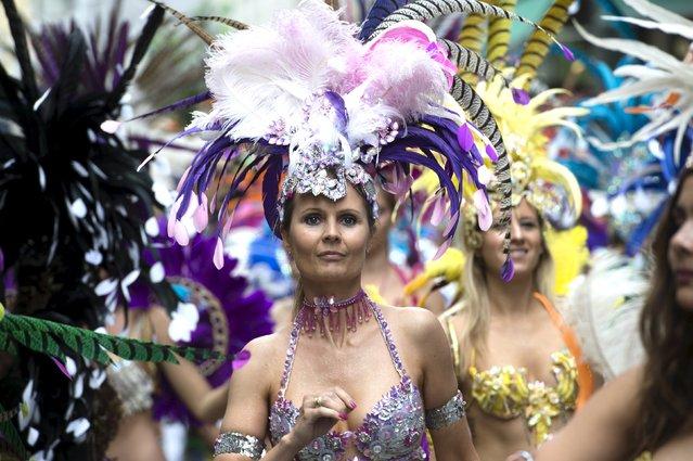 Dancers take part in the Copenhagen Carnival parade May 23, 2015. (Photo by Jens Noergaard Larsen/Reuters/Scanpix Denmark)