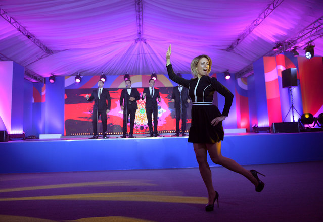 Russian Foreign Ministry spokeswoman Maria Zakharova dances during the reception in honour of heads of the delegations at the Russia-ASEAN summit in Sochi, Russia, May 19, 2016. (Photo by Host photo agency via Reuters)