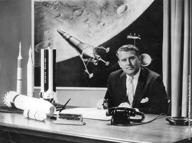 German-born rocket pioneer Dr Wernher von Braun (1912 - 1977), 1961