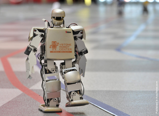 On February 26, 2011, in Osaka, Japan, a humanoid robot called Robovie PC-Lite takes the lead in a 42.195 km endurance competition – the world's first full-length marathon for two-legged robots