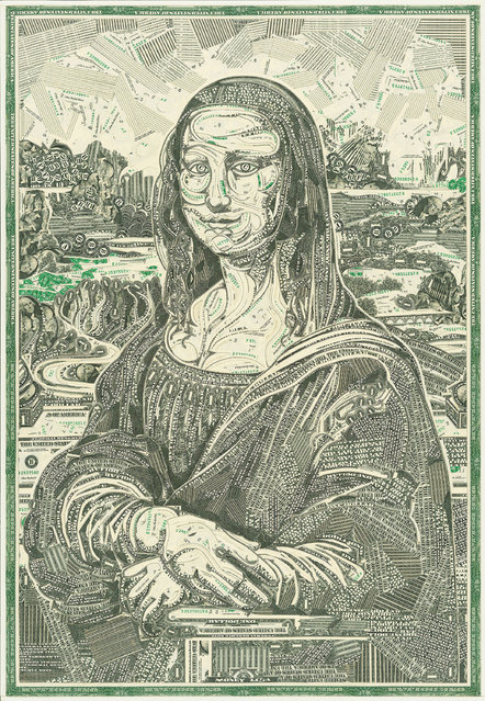 Mona Lisa, cut one-dollar bills. (Photo by Mark Wagner)