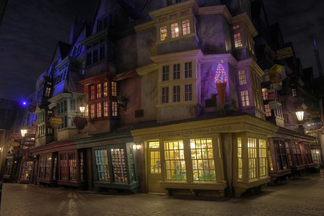 """Diagon Alley, the new Harry Potter attraction at Universal Orlando in Orlando, Florida is pictured in this undated handout photo provided by Universal Orlando Reuters July 8, 2014. Fans began lining up before dawn for the public opening of the """"The Wizarding World of Harry Potter – Diagon Alley"""" attraction, modelled after the London shopping district for wizards that is featured in Rowling's book series. The new attraction opened July 8, 2014. (Photo by Universal Orlando/Reuters)"""