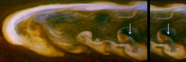An incredible view of daytime lightning on Saturn during one of the biggest storms the ringed planet has ever seen has been captured by a NASA spacecraft