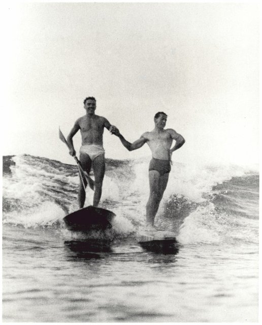 Synchronised surfing,Manly beach, New South Wales, 1938-46