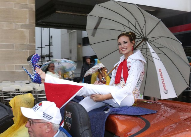 "Miss Nevada Katherine Kelley smiles during the 2016 Miss America pageant ""Show Us Your Shoes"" parade Saturday, September 12, 2015, in Atlantic City, N.J. (Photo by Michael Ein/The Press of Atlantic City via AP Photo)"