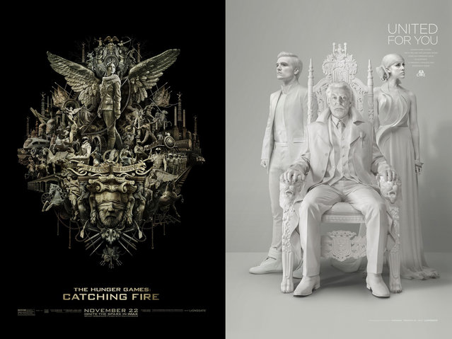 "A poster for the IMAX presentation of ""The Hunger Games: Catching Fire"" (left), and a teaser poster for ""The Hunger Games: Mockingjay, Part I"", both created by the Los Angeles-based design firm IGNITION. (Photo by Key Art Awards 2014)"