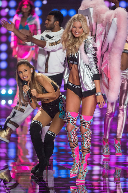 Singer Ariana Grande performs while model Elsa Hosk walks the runway at the annual Victoria's Secret fashion show at Earls Court on December 2, 2014 in London, England. (Photo by Michael Stewart/FilmMagic)