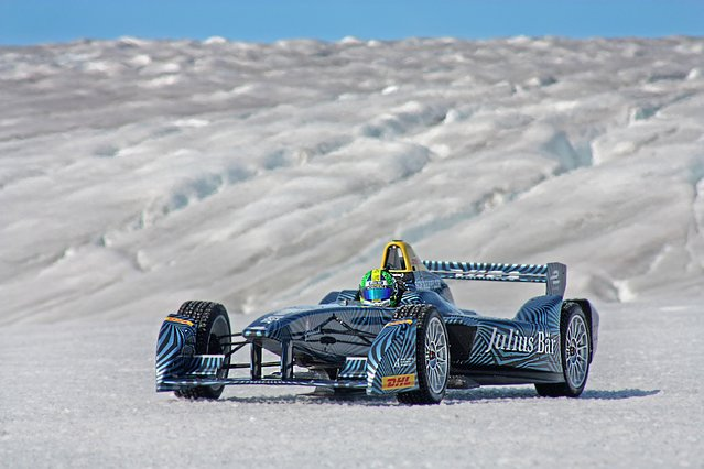 In this handout image supplied by Formula E, Lucas di Grassi at speed as he drives the Spark-Renault SRT_01E all electric car on the ice cap on September 14, 2016 near Nuuk, Greenland. (Photo by Will Gray/Formula E via Getty Images)