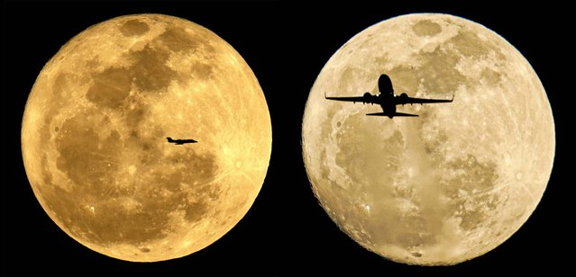 Planes are silhouetted against the rising moon in Phoenix, February 25 and 24, 2013. (Photo by Charlie Riedel/Associated Press)