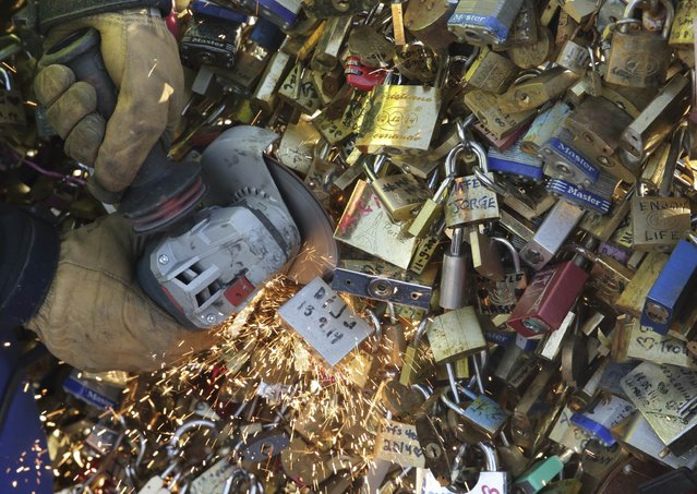 An employee of Paris city Hall removes padlocks clipped by lovers on the fence of the Pont des Arts over the River Seine in Paris, December 9, 2014. For years, visiting couples have hung brass padlocks on the iron grills lining the city's bridges to symbolise their undying love – they write their names on the locks, then toss the key into the Seine below. (Photo by Philippe Wojazer/Reuters)