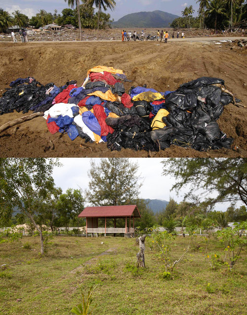 TOP IMAGE: Bodies are stack in a mass grave after the Tsunami in Lhok Nga, 150 miles from southern Asia's massive earthquake's epicenter on Tuesday January 8, 2005 in Lhok Nga, Indonesia. BOTTOM IMAGE: A mass grave cemetery prior to the ten year anniversary of the 2004 earthquake and tsunami on December 14, 2014 in Look Nga, Aceh, Indonesia. (Photo by Stephen Boitano/Barcroft Media)