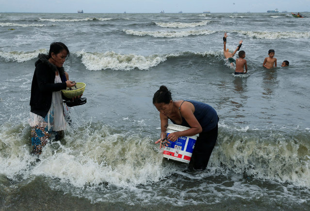 Residents take advantage of the gloomy weather to collect washed up clams brought by crashing waves due to strong winds of Super Typhoon Haima, local name Lawin, along the coastal coastal areas in metro Manila, Philippines October 20, 2016. (Photo by Romeo Ranoco/Reuters)