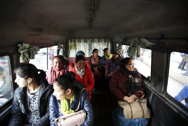 Women ride a women-only bus in Kathmandu January 6, 2015. (Photo by Navesh Chitrakar/Reuters)