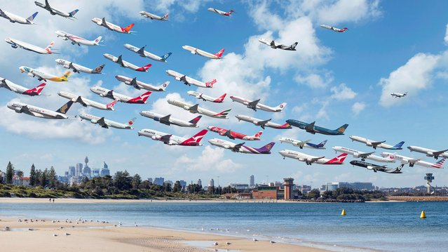"""A snap of Sydney airport – the artist said of the images: """"I put it on the internet as kind of a 'hey, check this little thing out that I did, it's kind of cool' and it just went crazy viral"""". (Photo by Mike Kelley/SWINS)"""