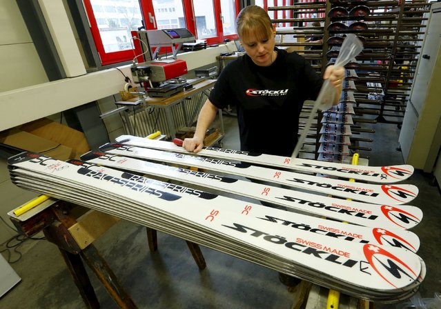 An employee prepares skis before waxing them at the plant of Swiss ski manufacturer Stoeckli in Malters, Switzerland November 25, 2015. (Photo by Arnd Wiegmann/Reuters)