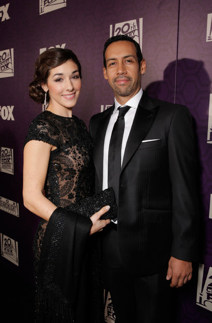 Thana Alexa and Antonio Sanchez are seen at FOX's 72nd annual Golden Globe Awards Party at the Beverly Hilton Hotel on Sunday, January 11, 2015, in Beverly Hills, Calif. (Photo by Todd Williamson/Invision for Fox Searchlight/AP Images)