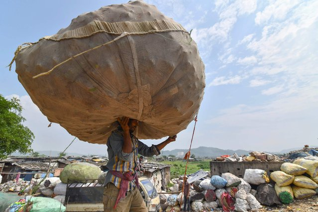 """An Indian labourer carries a sack of plastic bottles on his head near one of the largest disposal sites in north-east India, ahead of the """"World Environment Day"""" in Boragaon area of Guwahati on June 4, 2018. World Environment Day is marked annually on June 5, and aims at promoting awareness and action to protect the environment. (Photo by Biju Boro/AFP Photo)"""