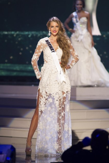 Elise Dalby, Miss Norway 2014 competes on stage in her evening gown during the Miss Universe Preliminary Show in Miami, Florida in this January 21, 2015 handout photo. (Photo by Reuters/Miss Universe Organization)