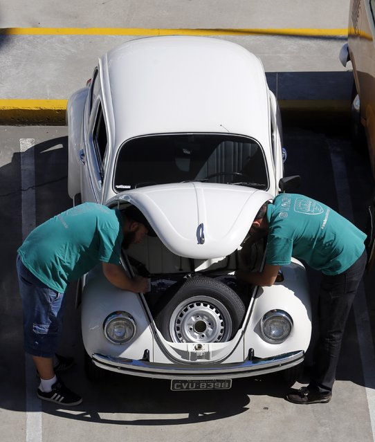 Visitors check a Volkswagen beetle during a Volkswagen Beetle owners' meeting in Sao Bernardo do Campo January 25, 2015. (Photo by Paulo Whitaker/Reuters)